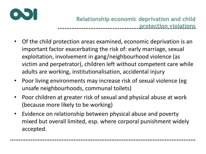 Relationship economic deprivation and child protection violations