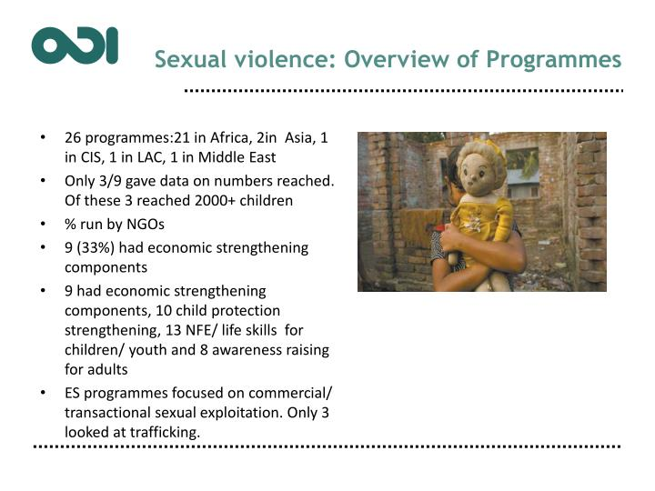 Sexual violence: Overview of Programmes