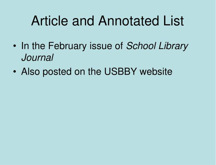 Article and Annotated List