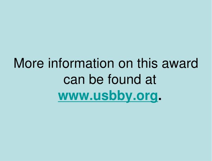 More information on this award can be found at