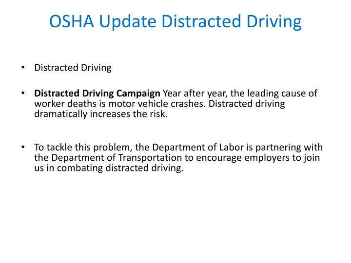 OSHA Update Distracted Driving