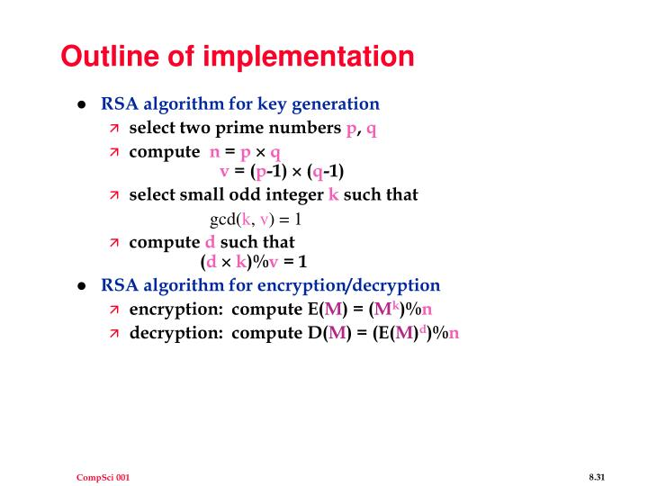 Outline of implementation