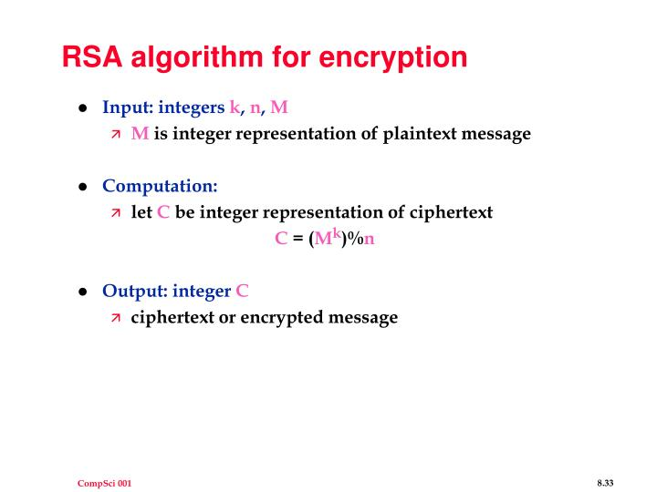 RSA algorithm for encryption