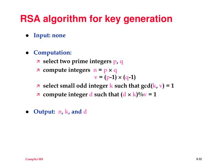 RSA algorithm for key generation