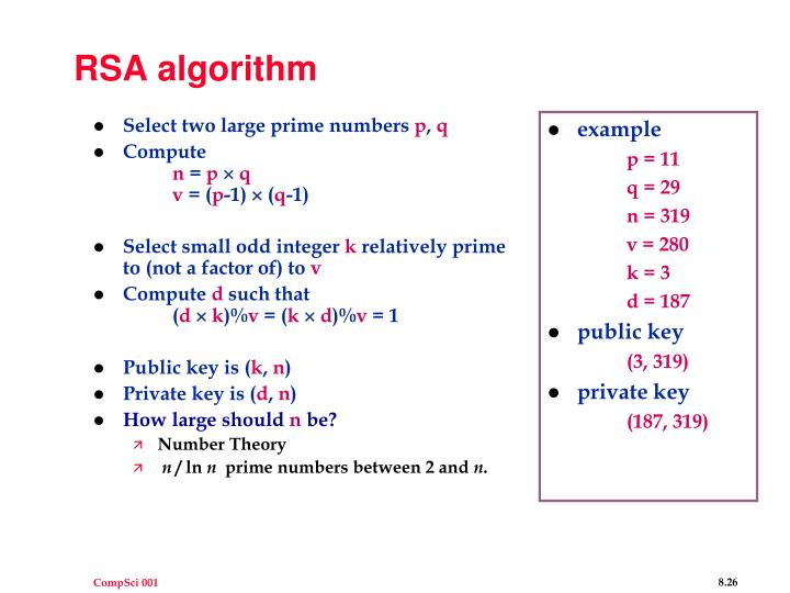 Select two large prime numbers