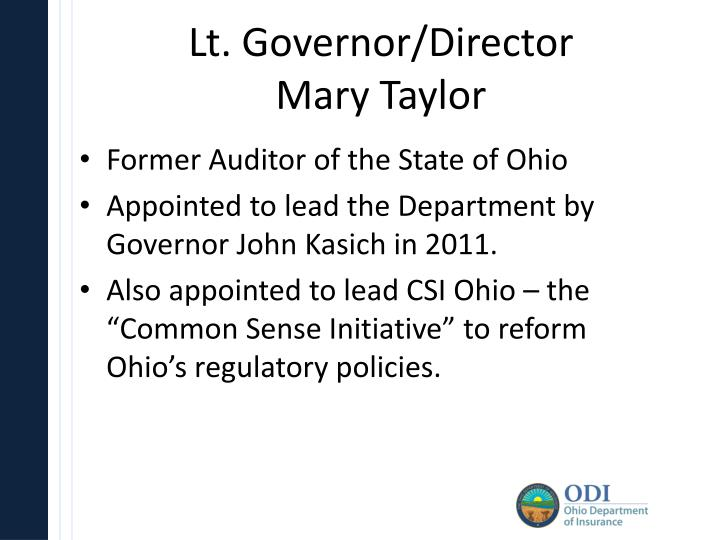 Lt governor director mary taylor