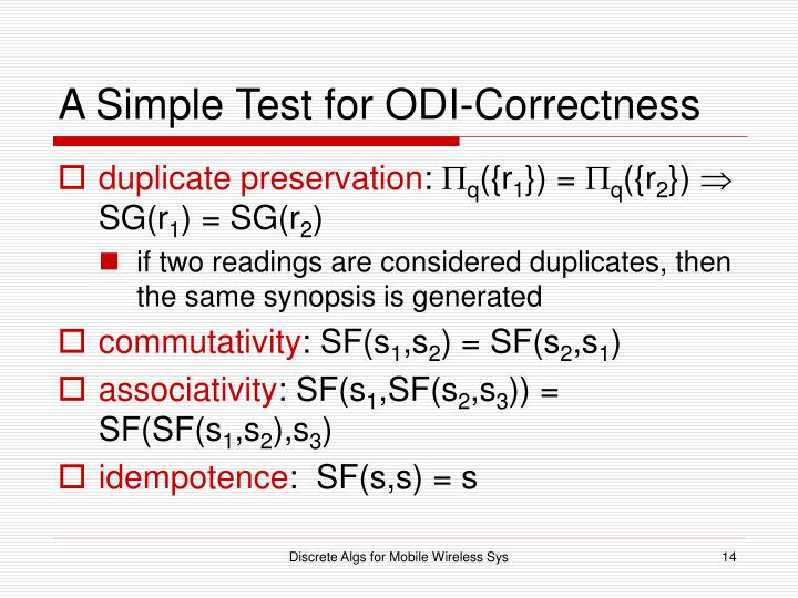 A Simple Test for ODI-Correctness