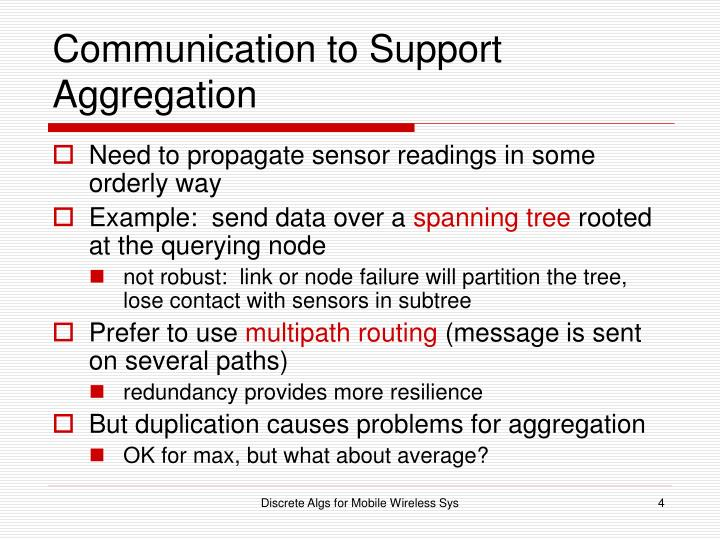 Communication to Support Aggregation
