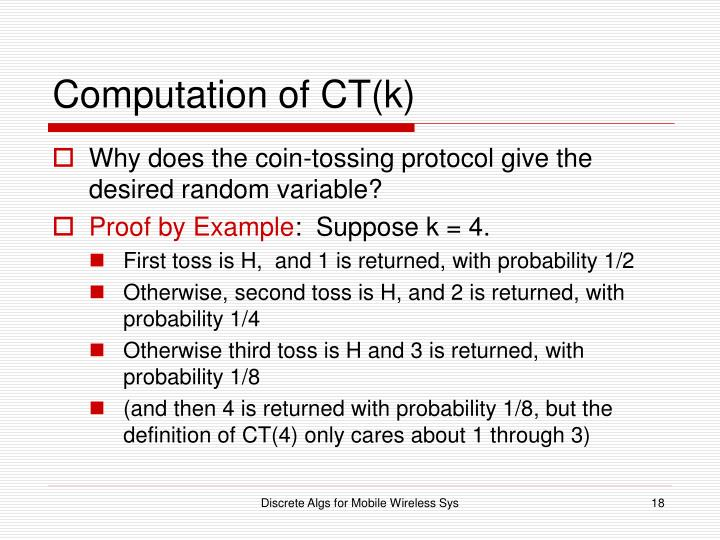 Computation of CT(k)