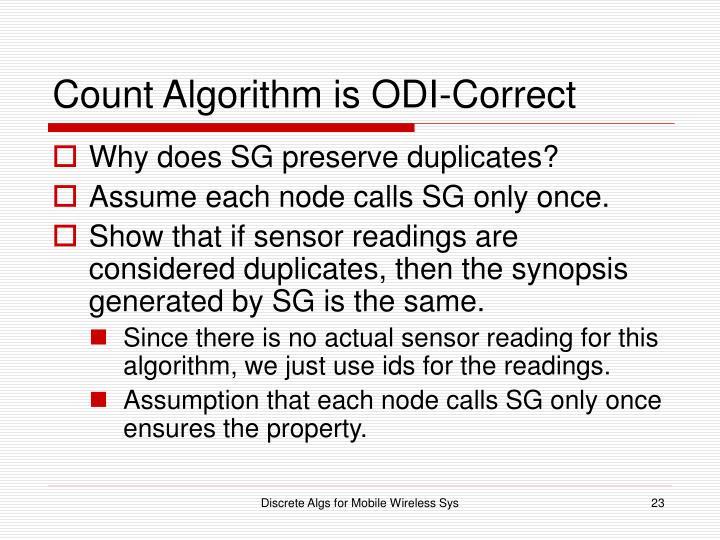 Count Algorithm is ODI-Correct