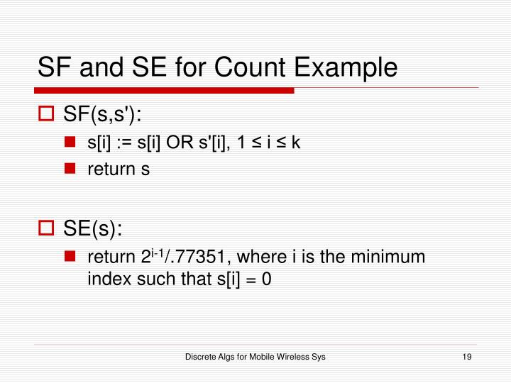 SF and SE for Count Example