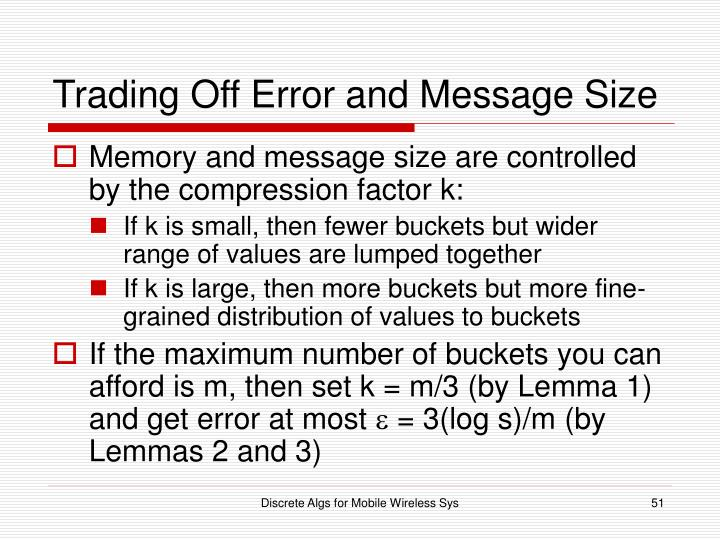 Trading Off Error and Message Size