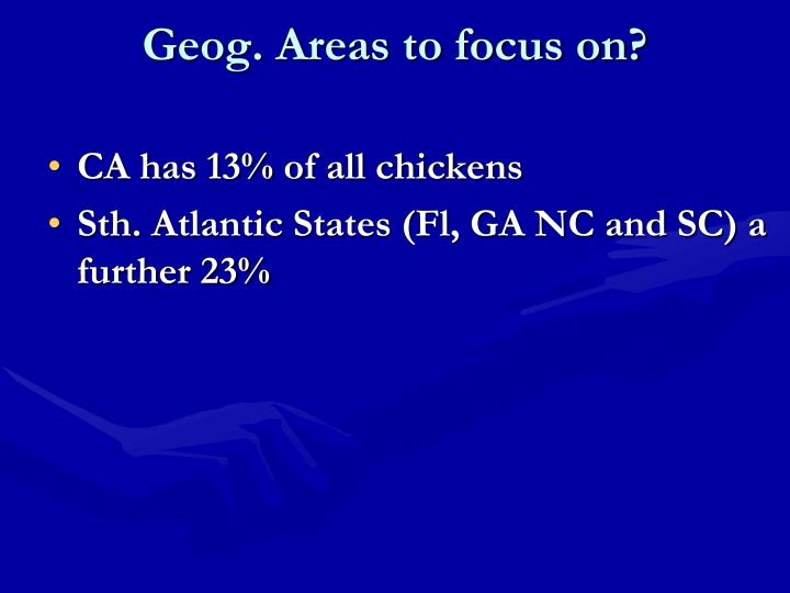 Geog. Areas to focus on?