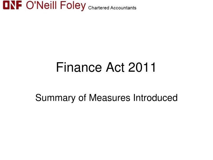 finance act 2011