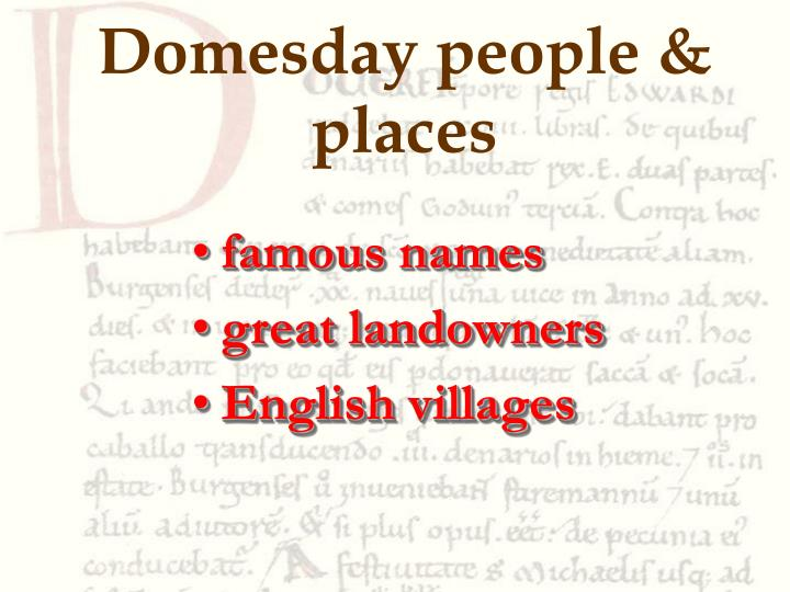 Domesday people & places