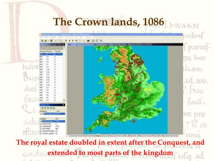 The Crown lands, 1086