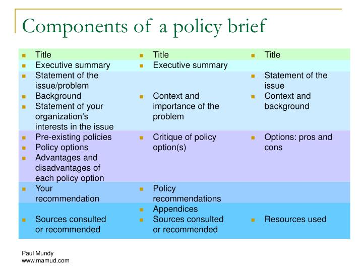 Components of a policy brief