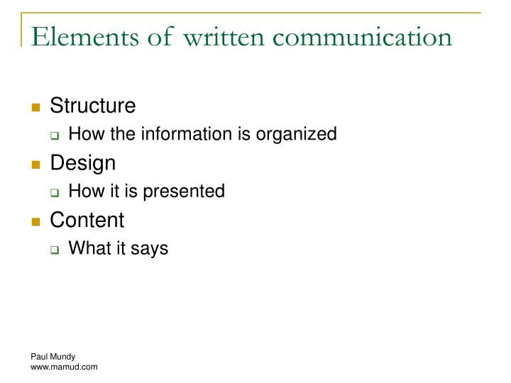 Elements of written communication