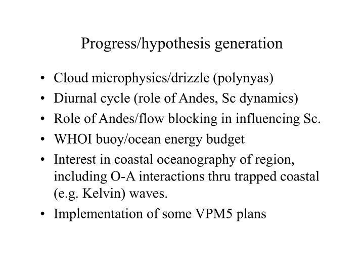 Progress/hypothesis generation