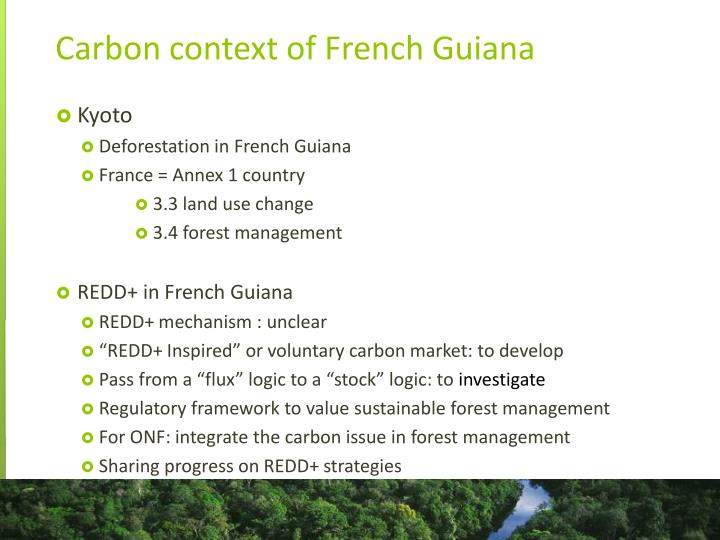 Carbon context of French Guiana
