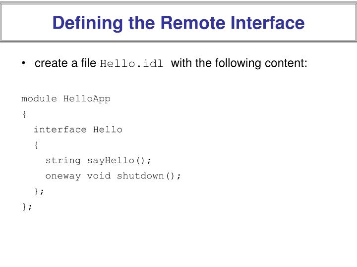 Defining the Remote Interface