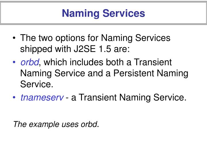 Naming Services