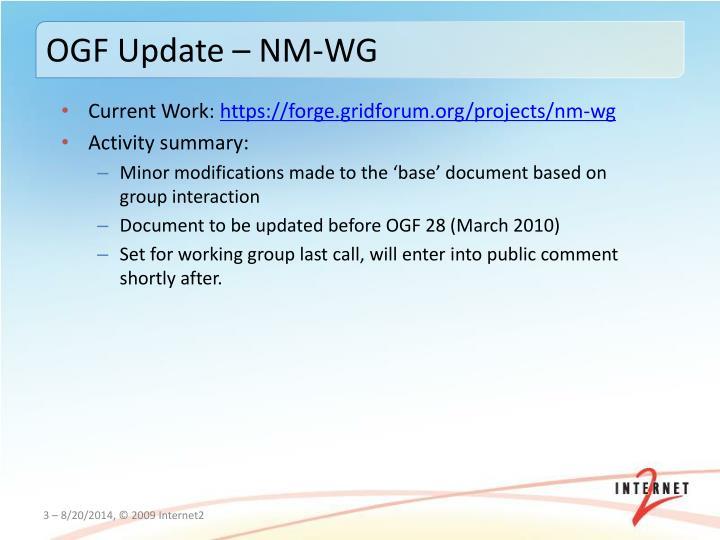 OGF Update – NM-WG