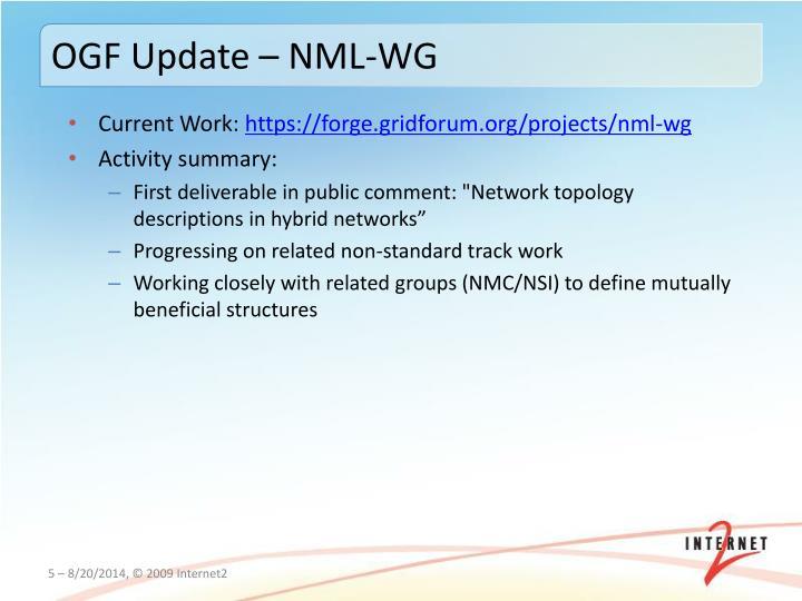 OGF Update – NML-WG