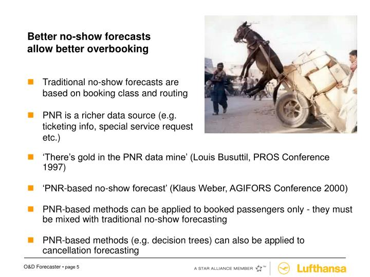 Better no-show forecasts allow better overbooking