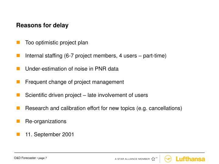 Reasons for delay