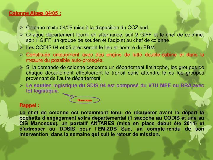 Colonne Alpes 04/05 :