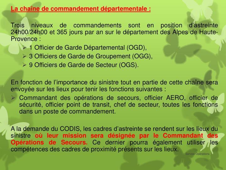 La chaîne de commandement départementale :