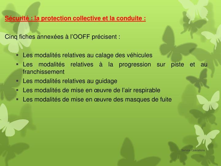 Sécurité : la protection collective et la conduite :