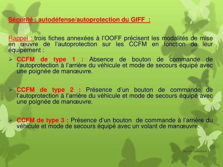 Sécurité : autodéfense/autoprotection du GIFF  :