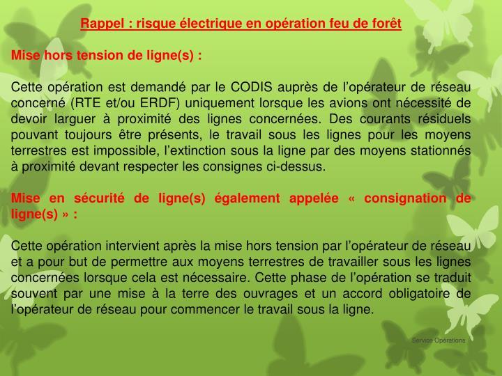 Rappel : risque électrique en opération feu de forêt