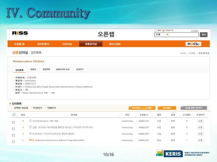 IV. Community
