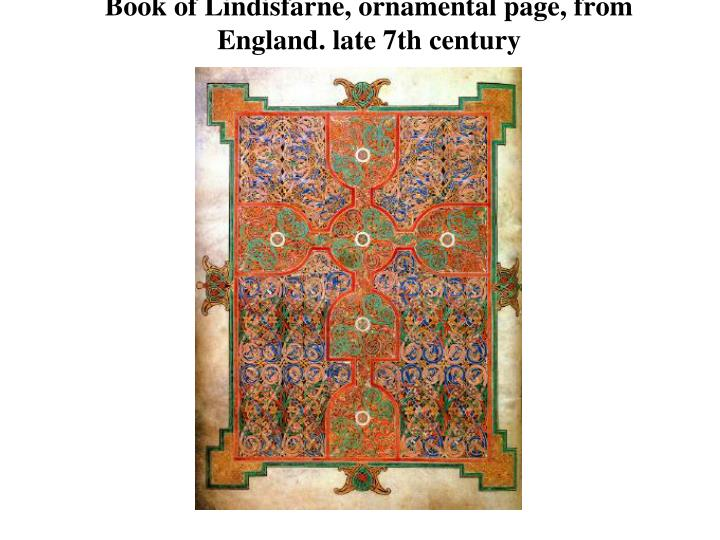 Book of Lindisfarne, ornamental page, from England. late 7th century