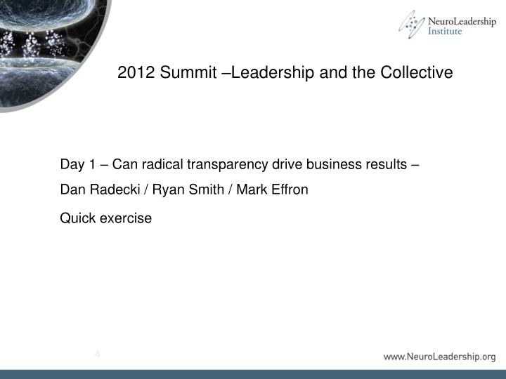 2012 Summit –Leadership and the Collective