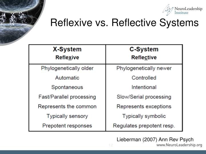 Reflexive vs. Reflective Systems