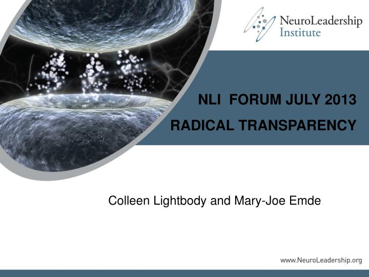 NLI  FORUM JULY 2013