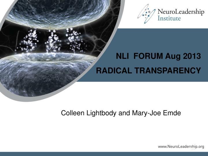 NLI  FORUM Aug 2013