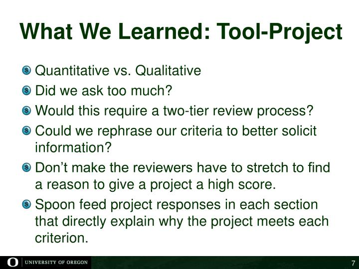 What We Learned: Tool-Project