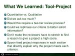 what we learned tool project