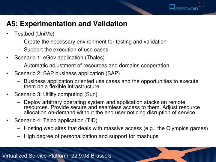 A5: Experimentation and Validation