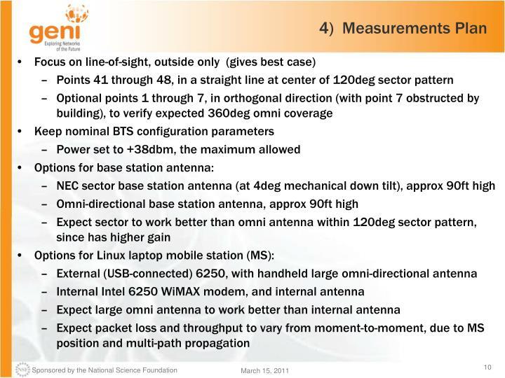 4)  Measurements Plan