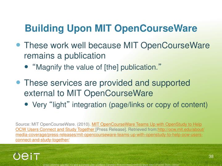 Building Upon MIT OpenCourseWare
