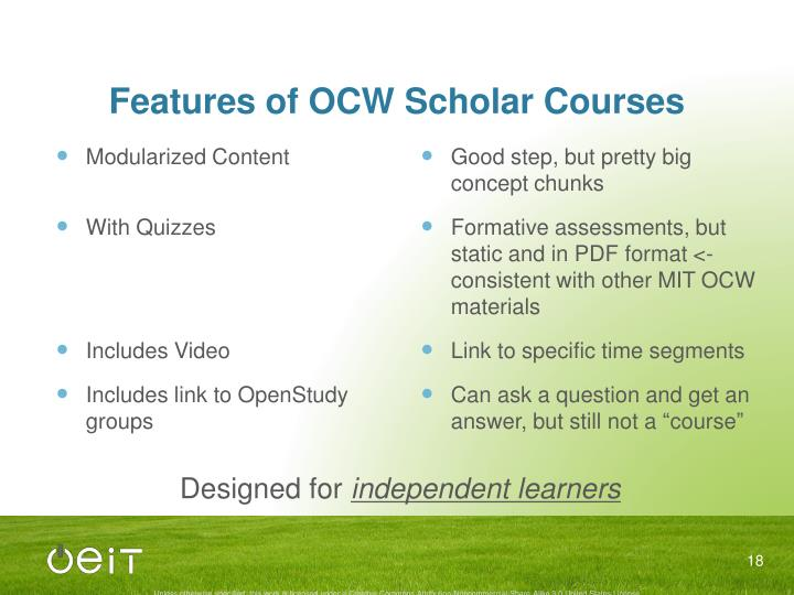 Features of OCW Scholar Courses