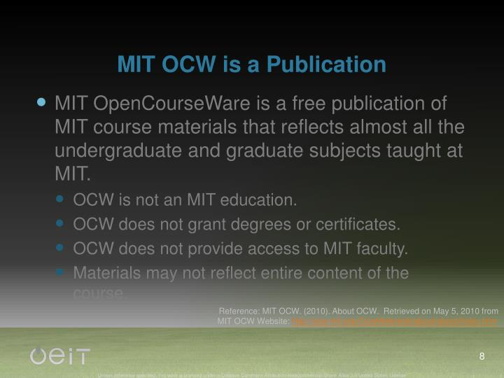 MIT OCW is a Publication