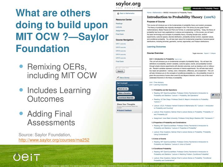 What are others doing to build upon MIT OCW ?—Saylor Foundation