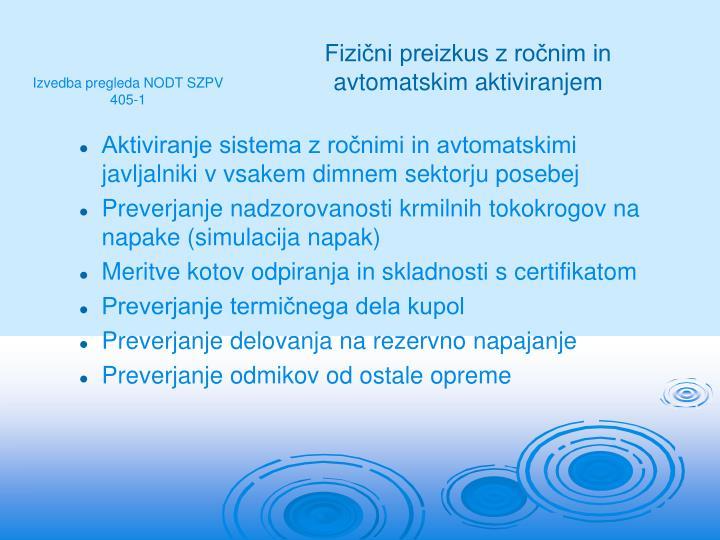 Aktiviranje sistema z ročnimi in avtomatskimi javljalniki v vsakem dimnem sektorju posebej